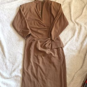 Black Halo Dress- Tan, high neckline.